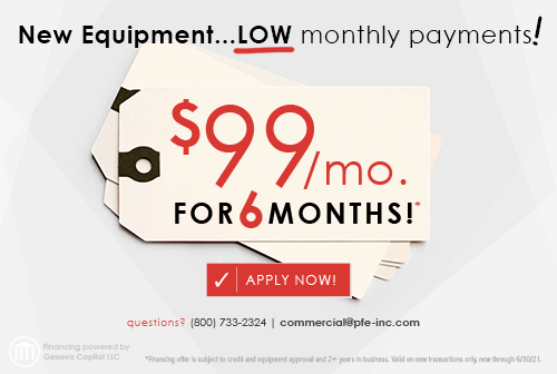 New Equipment... Low Monthly Payment - $99/month for 6 months